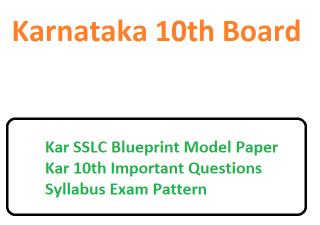 Kar SSLC Blueprint Model Paper 2020 Kar 10th Important Questions Syllabus Exam Pattern 2020