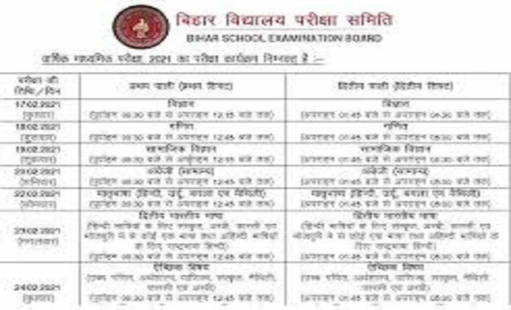 Bihar Matric Time Table 2021 BSEB 10th Date Sheet 2021 बिहार मैट्रिक टाइम टेबल 2021 बीएसईबी 10 वीं डेट शीट 2021