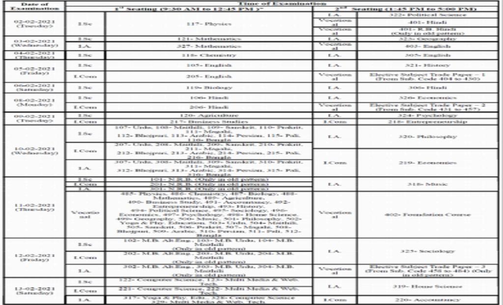 Bihar Board 12th Time Table 2021 बिहार बोर्ड 12 वीं समय सारणी 2021